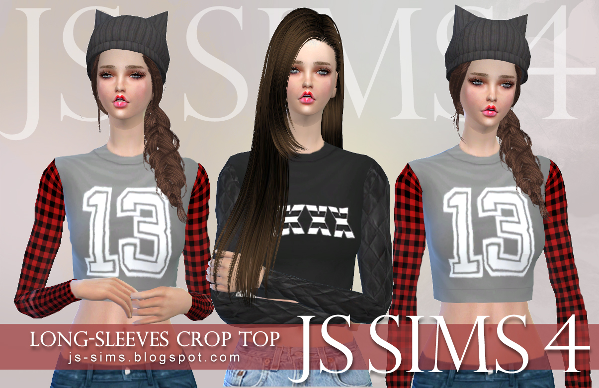 Long-Sleeves Crop Top by JS Sims 4