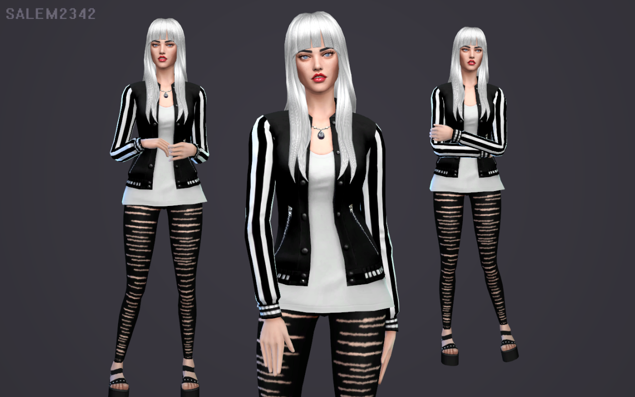 BLACK JACKET & RIPPED LEGGINGS at Salem2342