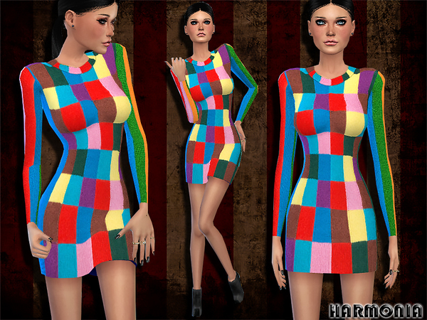 Mixed Print Cashmere Dress by Harmonia