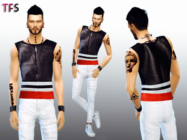 Leather Tanks for Males by TwistedFateSims