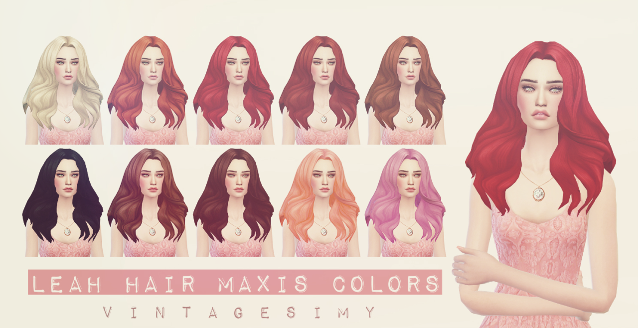 Leah Hair Maxis Colors by VintageSimy