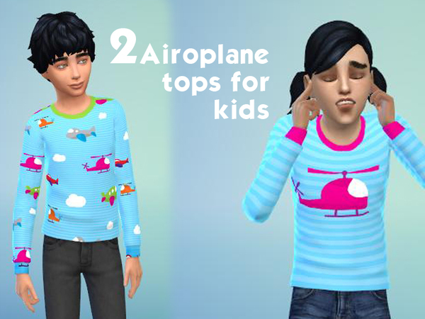 Two cute airplane tops for kids by bobojellycatface