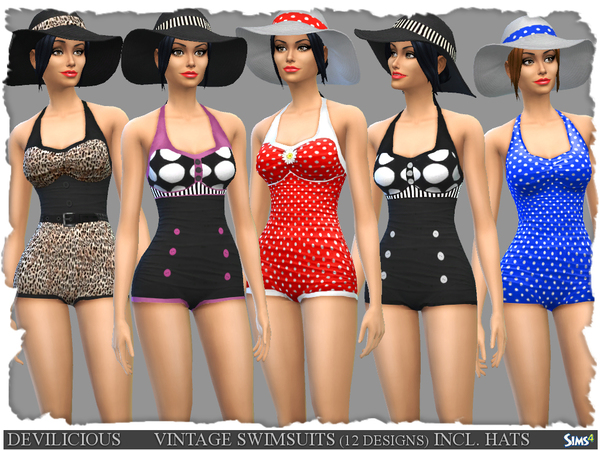 Vintage Swimsuits 12 Designs and Summer Hats by Devilicious