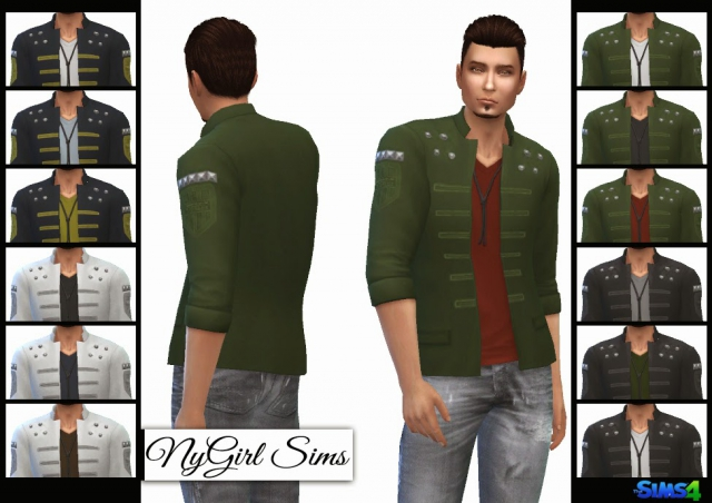 Military Jacket with V-Neck Tee by NyGirl