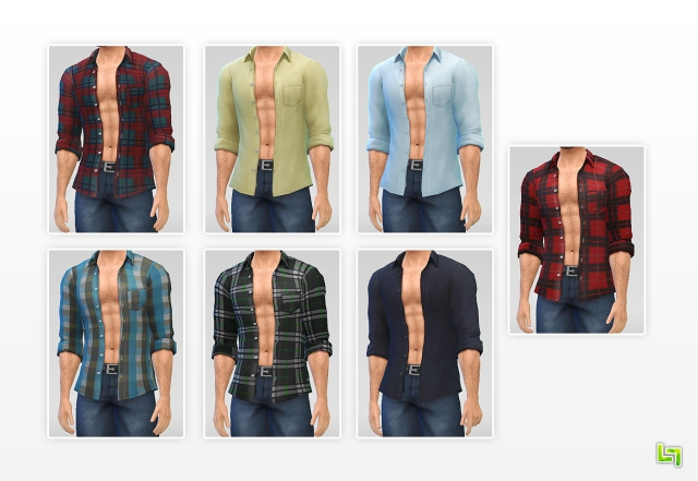 Open Rolled Shirts for Males by LumiaLover Sims