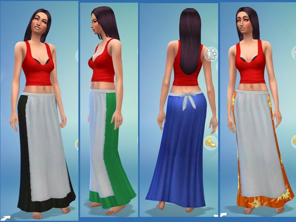 Long skirt with apron by magnemoe