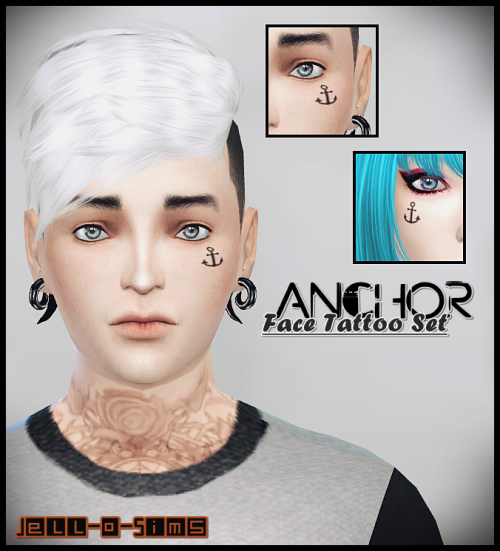 Anchor Face Tattoo Set by JelloSims
