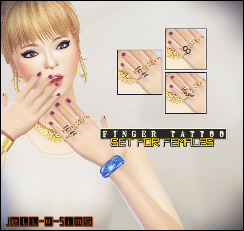 Finger Tattoo Set For Females by JelloSims