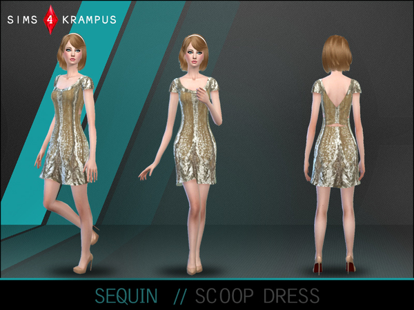 Sequin Scoop Neck Dress by SIms4Krampus