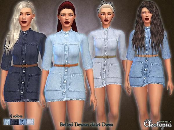 Set28- Belted Denim Shirt Dress by Cleotopia