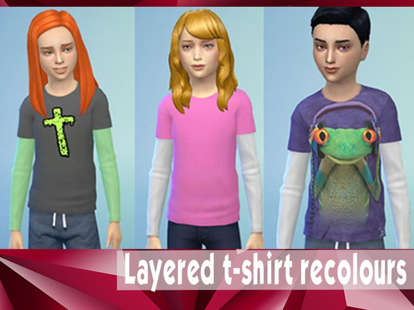 6 layered t-shirt recolours by bobojellycatface
