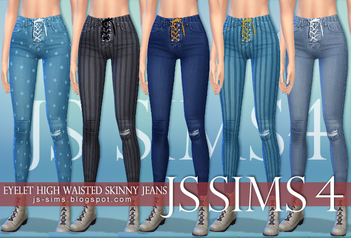 Eyelet High Waisted Skinny Jeans by JS Sims 4