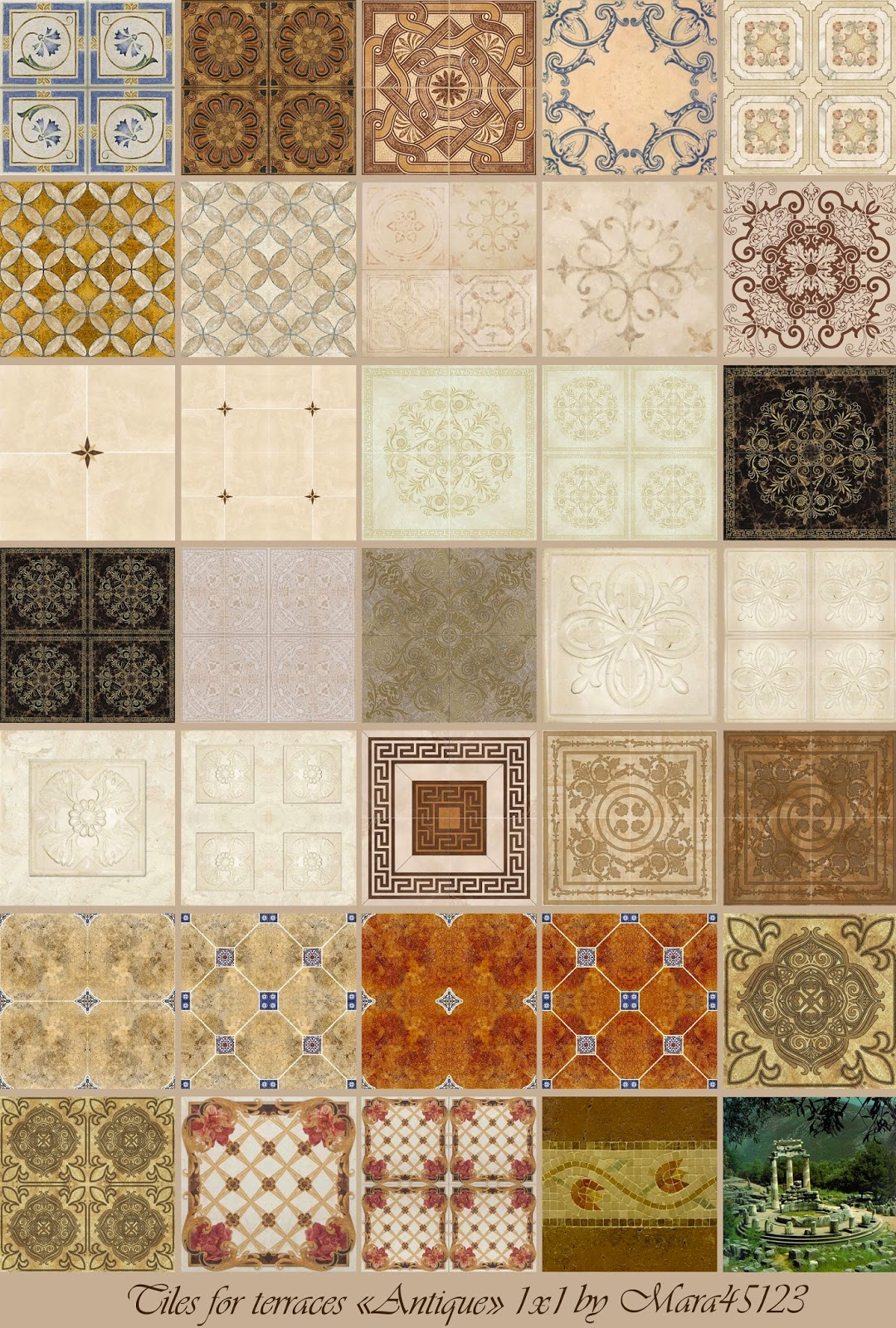 "Tiles for terraces ""Antique"" by Mara45123"