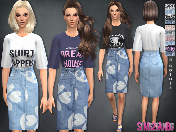 37 - Denim skirt with top by sims2fanbg