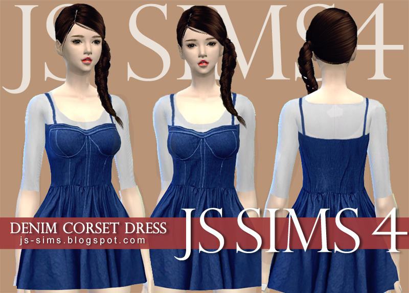 Denim Corset Dress for Teen & Adult Females by JS Sims 4