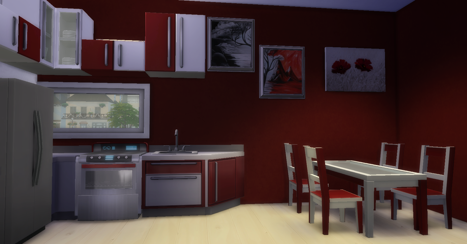 Red & White Kitchen Recolors by Dachs