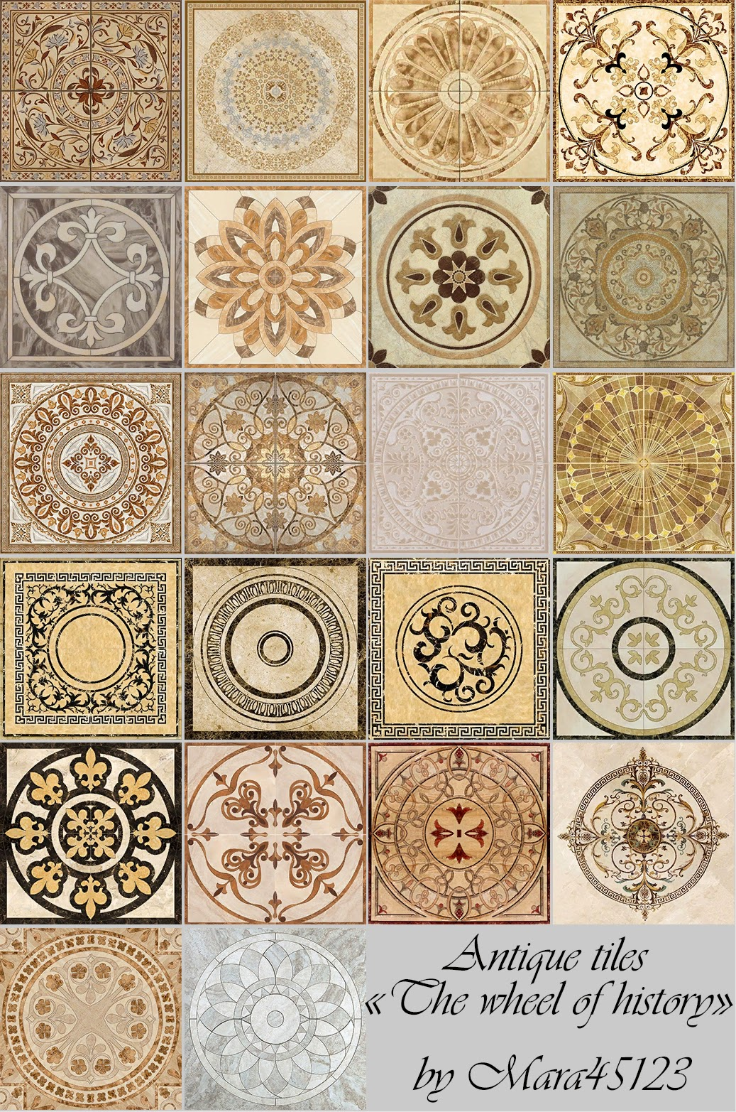 "Floors antique tiles ""The wheel of history"" by Mara45123"