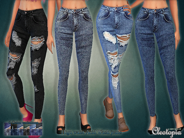 Set30 - High Waist Acid Wash Jeans Set by Cleotopia