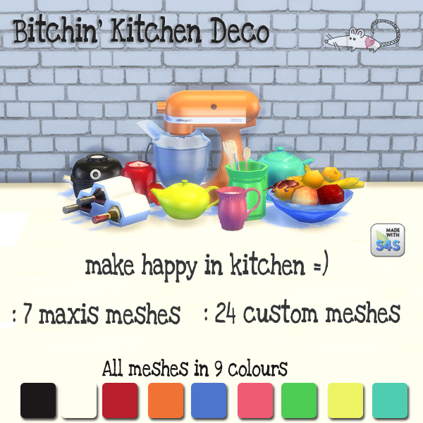 Kitchen Clutter in 9 Recolors by LoveratSims4