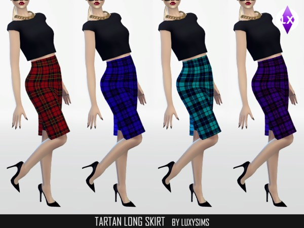 Tartan Long Skirt by LuxySims3