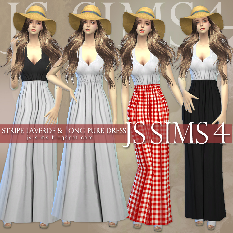 Long Pure Dress by JS Sims 4