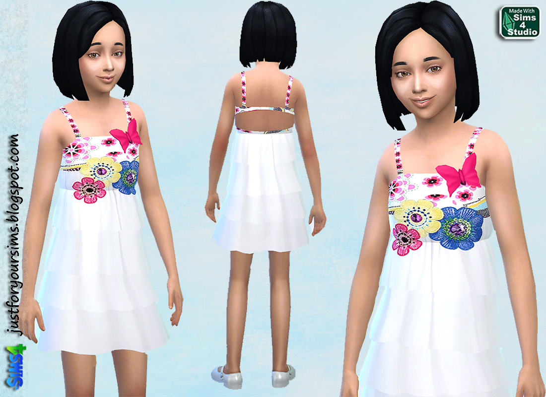 White Dress with Flower Print at Just For Your Sims