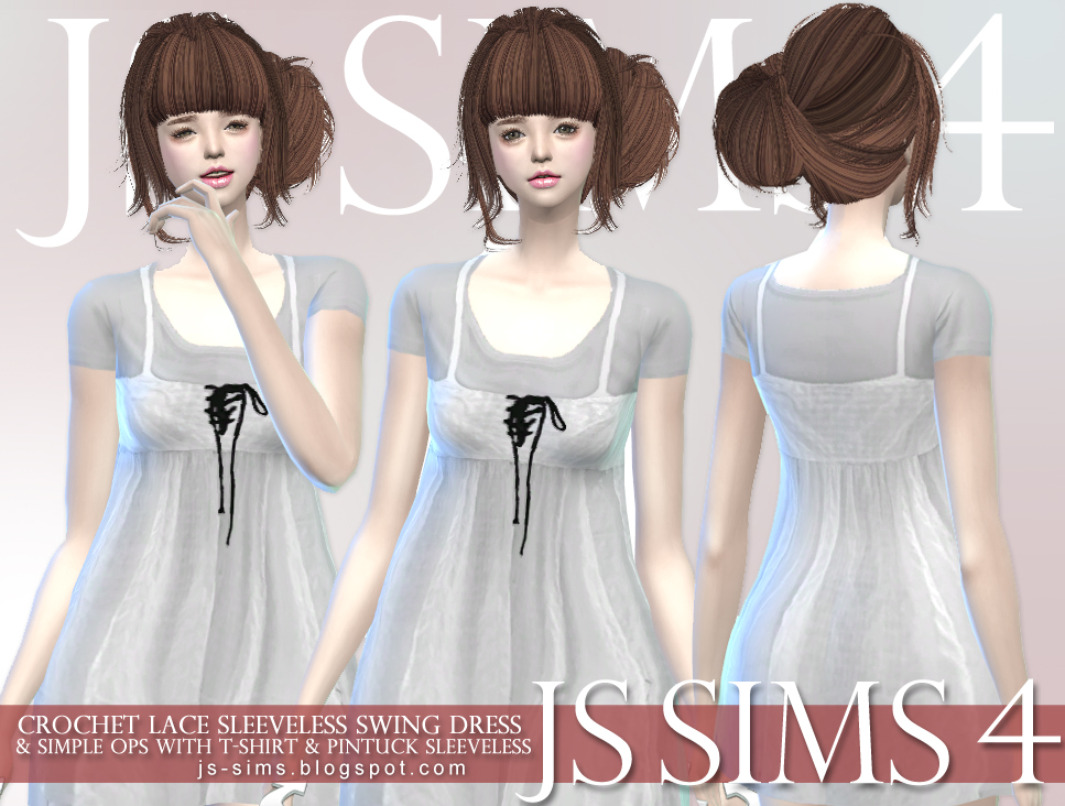 Crochet Lace Dress & Simple ops & Pintuck Sleeveless at JS Sims 4