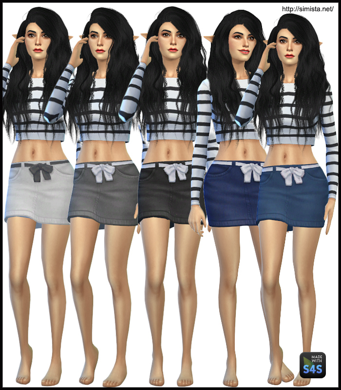 Denim Ribbon Skirts for Teen - Elder Females by Simista