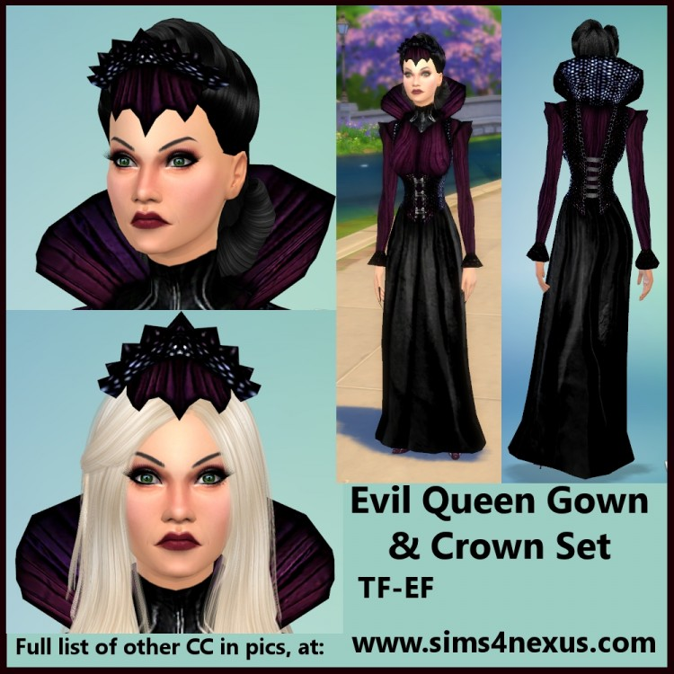 Evil Queens gown and crown at Sims 4 Nexus