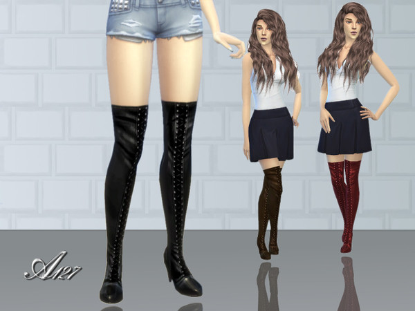 Sims 3 style Long Boots by altea127