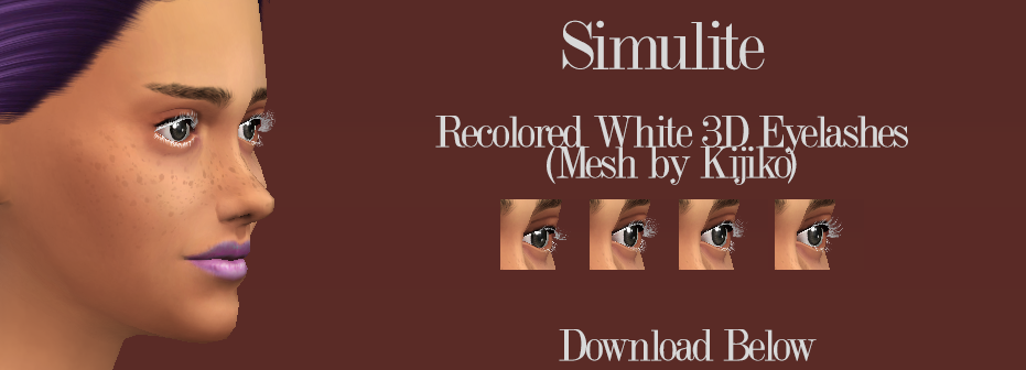Kijiko 3D Eyelashes Recolor in White by Simulite