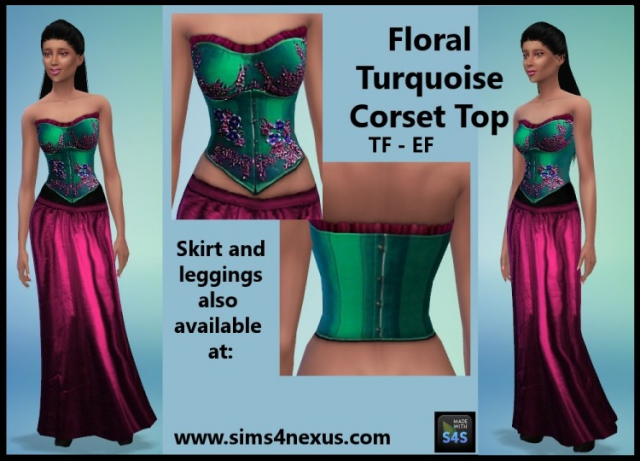 Floral Turquoise Corset Top for Teen - Elder Females by Sims4Nexus