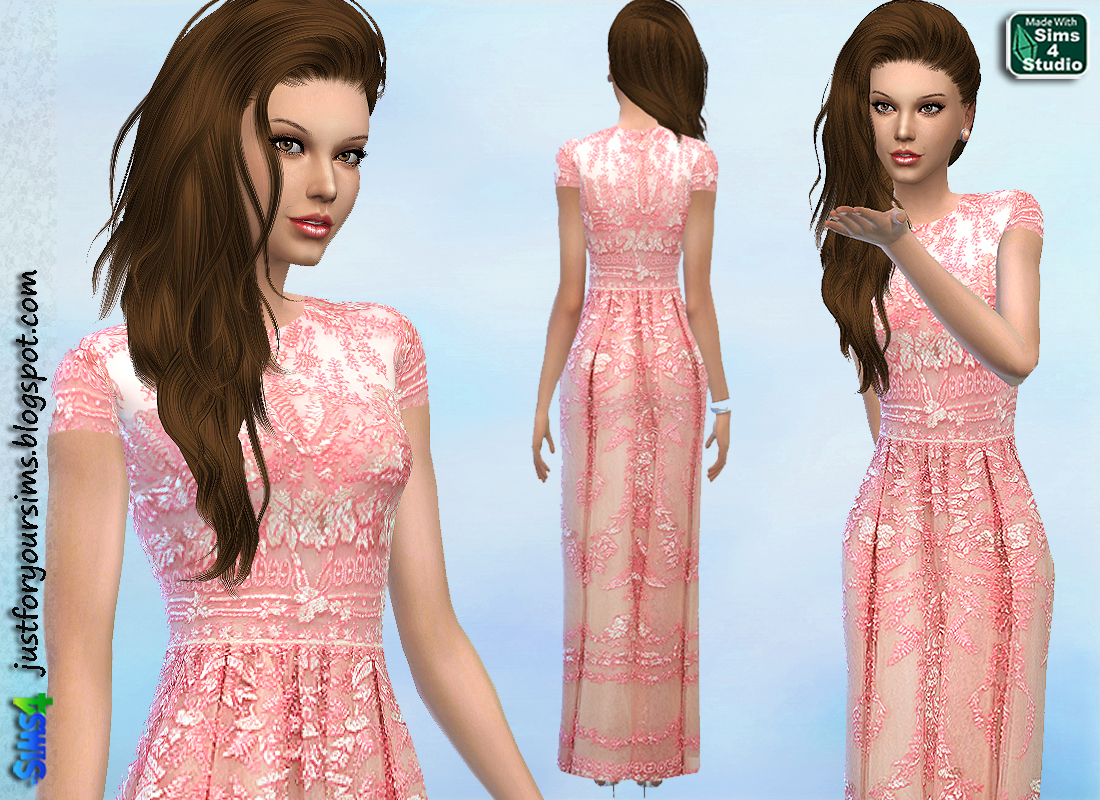 Pink Embellished Gown at Just For Your Sims