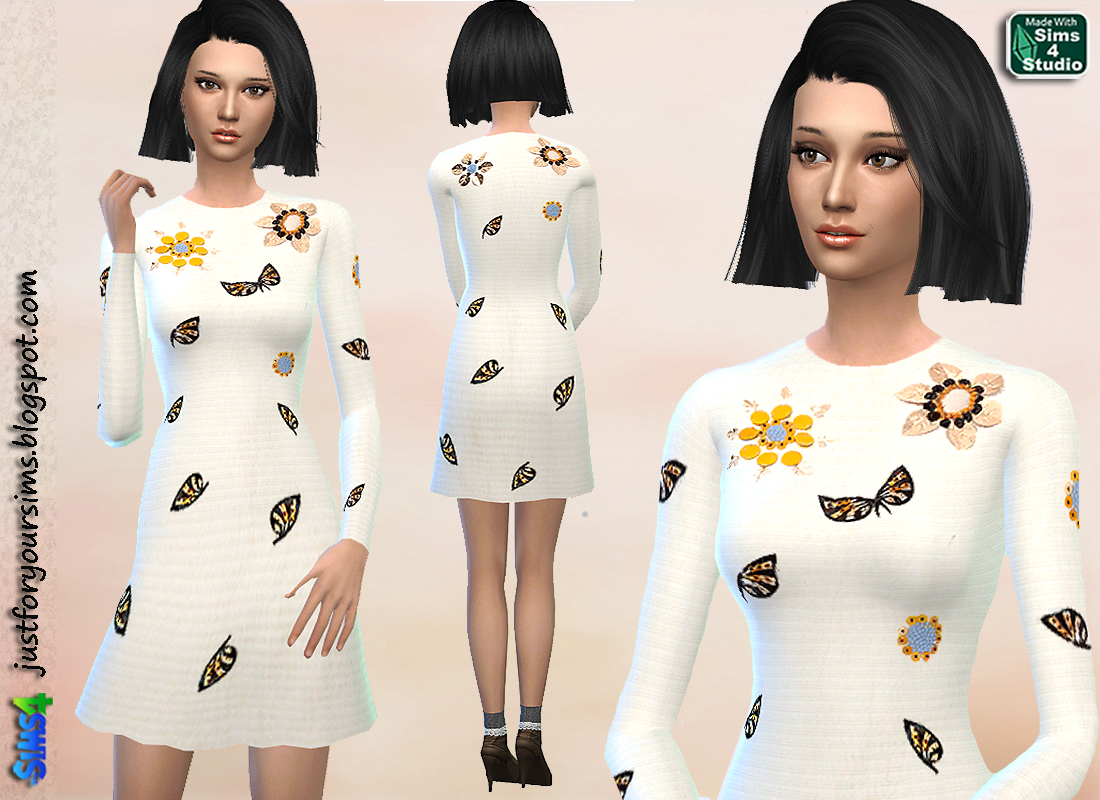 Beige Embellished Dress at Just For Your Sims