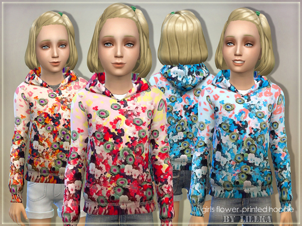 Girls Flower-Printed Hoodie by lillka