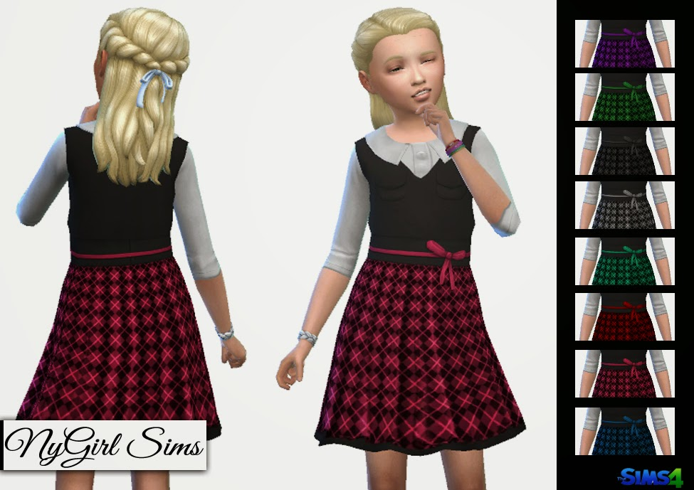Collared Tartan Dress with Vest for Girls by NyGirl