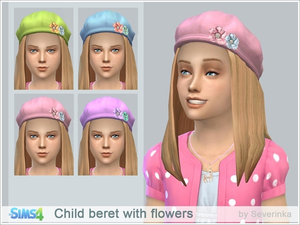 Child beret with flowers by Severinka