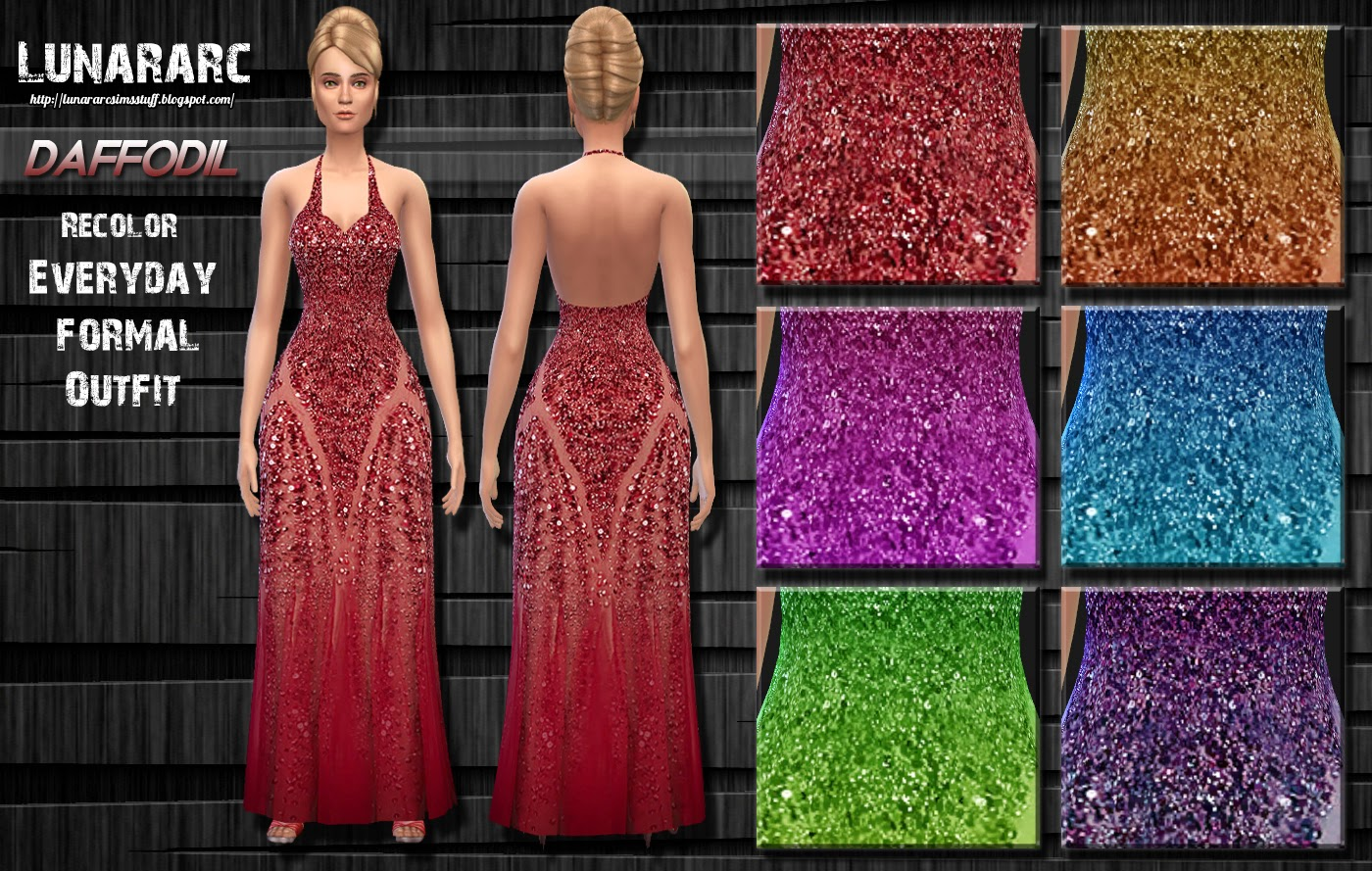 Daffodil - Beaded Long Dress by  Lunararc Sims