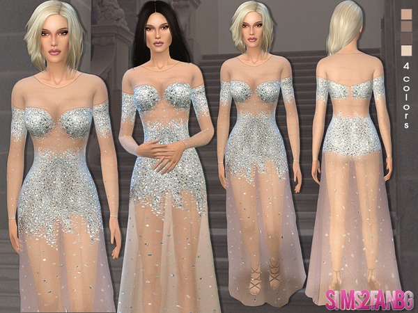 40 - Nude illusion tulle prom gown by sims2fanbg
