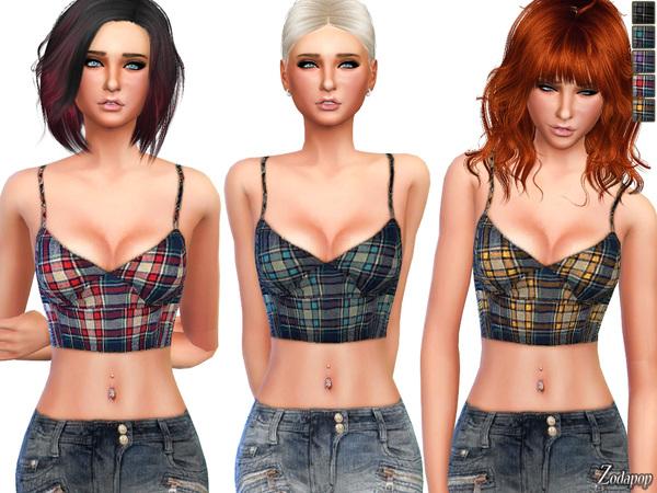 (S4) Tartan Check Crop Top by zodapop