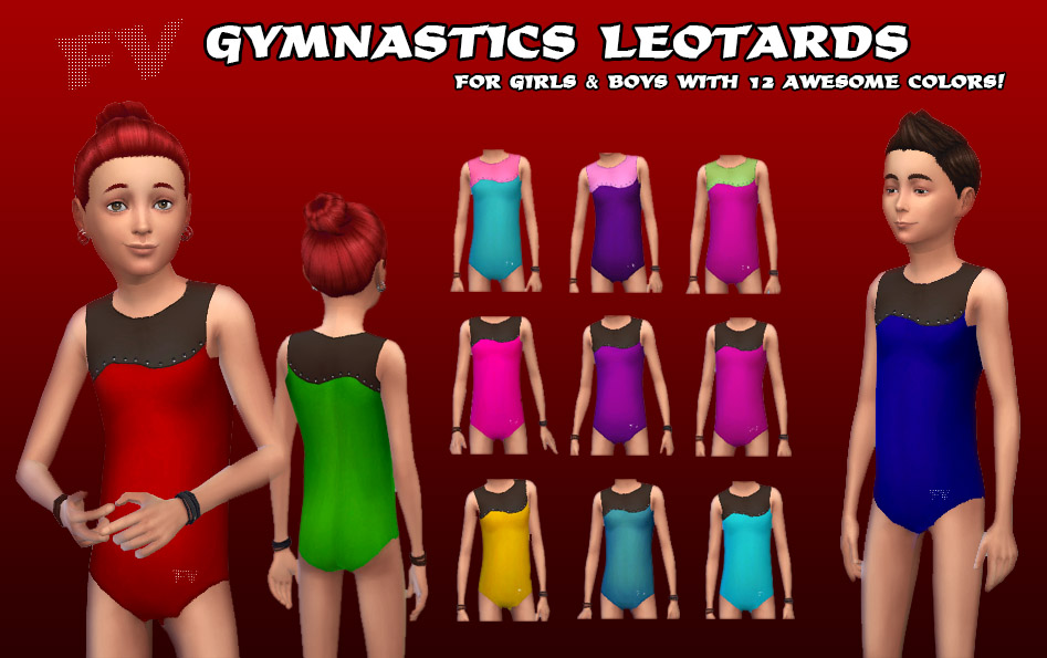 FV Gymnastics Tank Leotards For Girls & Boys - Rhinestones & Mesh by FrankVjecy