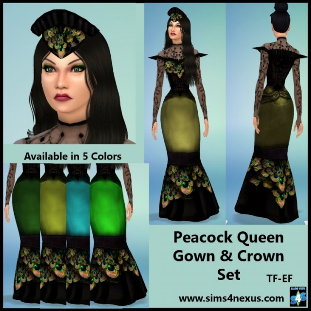 Peacock Queen Gown & Crown for Teen - Elder Females by Sims4Nexus