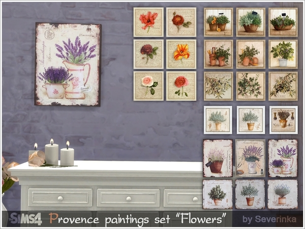 Provence paintings set Flowers by Severinka