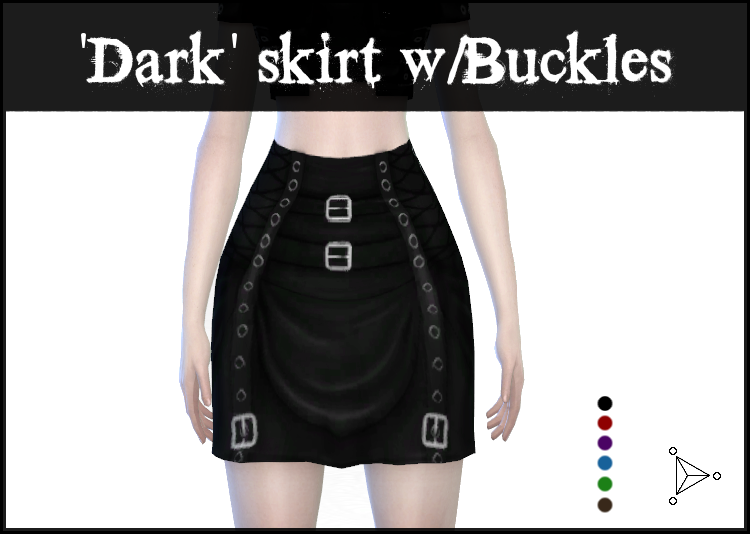 Dark Skirt with Buckles by LadyHayny