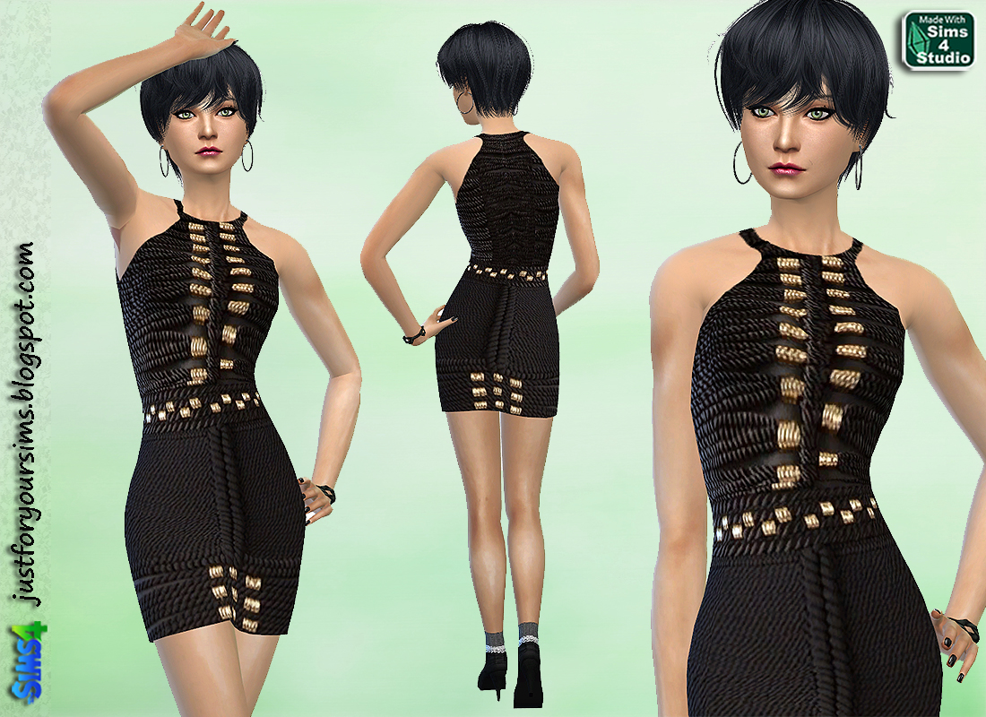 Black Rope Dress by Just For Your Sims