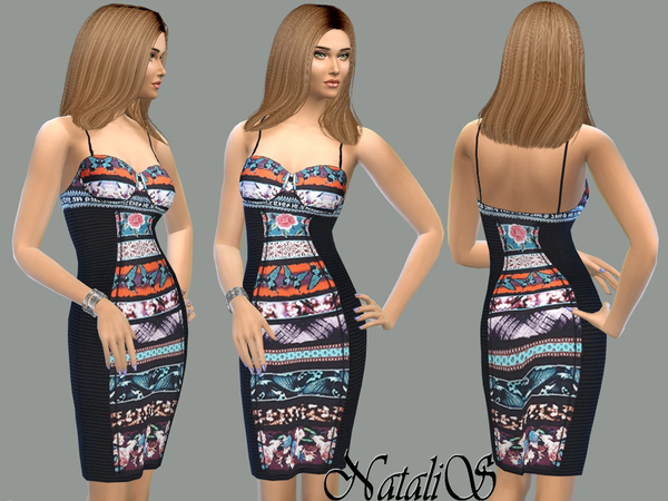 NataliS_Printed panel bustier dress FA-YA