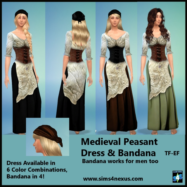 Medieval Peasant Dress & Bandana by Sims4Nexus