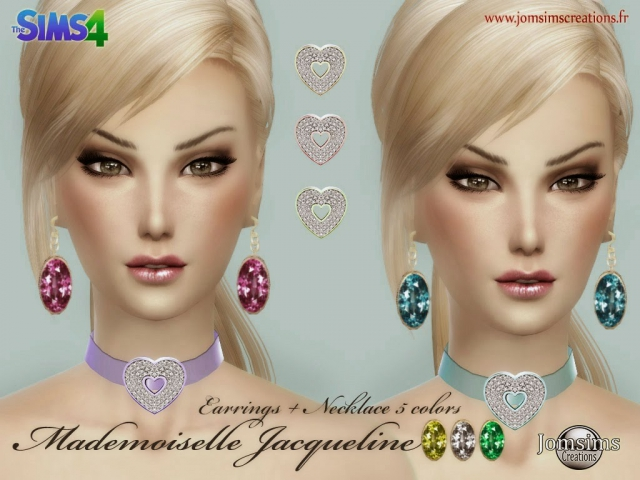 Earrings and Necklace Mademoiselle Jacqueline by JomSims