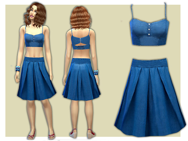 Denim Co-ord Skirt and Top Set by shanelle.sims