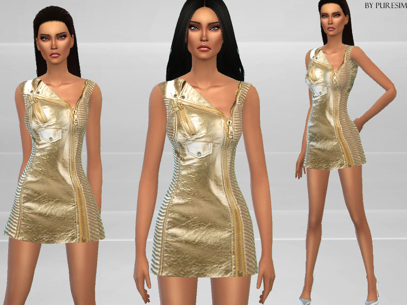 Gold Biker Dress BY Puresim